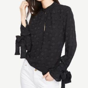 Ann Taylor polka dot embossed tie sleeve blouse